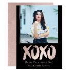 XOXO Blush Pink Black | Brushstroke Custom Photo Card