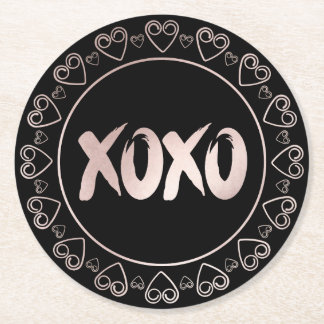 XOXO Blush Pink Black | Girly Brushstrokes Script Round Paper Coaster