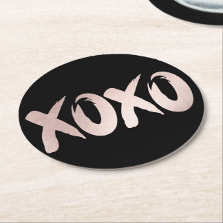 XOXO Blush Pink Black | Modern Brushstrokes Script Round Paper Coaster