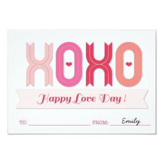 XOXO Classroom School Kids Valentine's Day Cards 9 Cm X 13 Cm Invitation Card