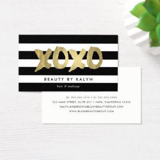 XOXO Faux Gold & Black Stripe Makeup Artist Business Card