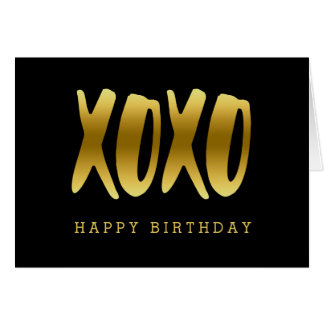 XOXO Faux Gold Happy Birthday Black Greeting Card