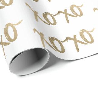 XOXO Gold Brushstoke Fashion Chic Wrapping Paper