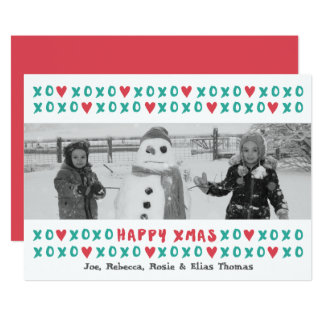 XOXO Happy Xmas Holiday Photo Card 13 Cm X 18 Cm Invitation Card