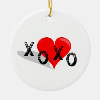 XOXO Heart Hugs and Kisses Round Ceramic Decoration