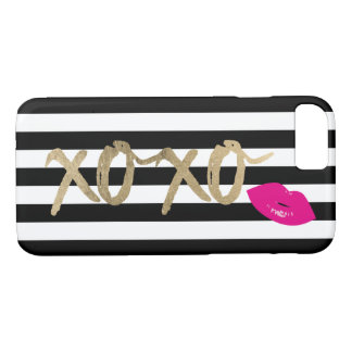 XOXO Hot Pink Lips Modern Black & White Stripes iPhone 8/7 Case