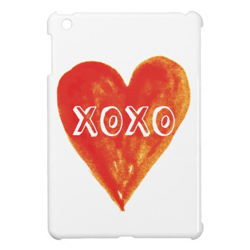 XOXO, hugs and kissess, red heart with text Case For The iPad Mini