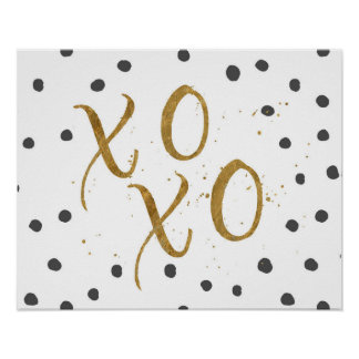 """XOXO"" Hugs & Kisses Faux Gold Dot Poster"