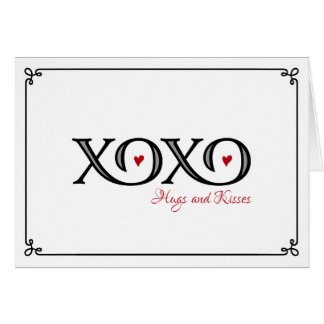 XOXO Hugs & Kisses Valentine's Day Note Card