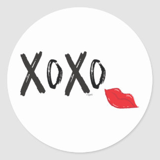 XoXo-Hugs-Kisses-with-Red-Lips Classic Round Sticker