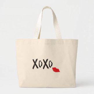 XoXo-Hugs-Kisses-with-Red-Lips Large Tote Bag