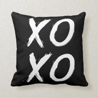 XOXO Kiss and Hug | Black White Brush Script Cushion