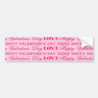 XOXO Love Happy Valentine's Day Pink Print Gifts Bumper Stickers