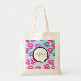 XOXO Pattern with Pink Kissy Lips with Monogram Tote Bag