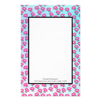 XOXO! Pattern with Sexy Pink Kissy Lips Stationery