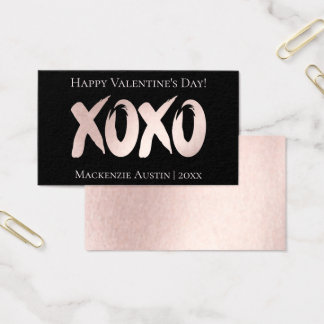 XOXO Pink Black | Classroom Office Valentines Day Business Card