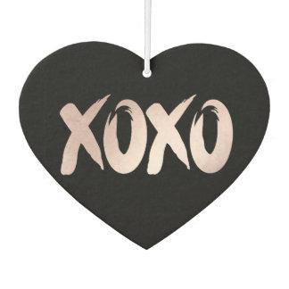 XOXO Pink Black   Valentines Day Chic Brushstroke Car Air Freshener