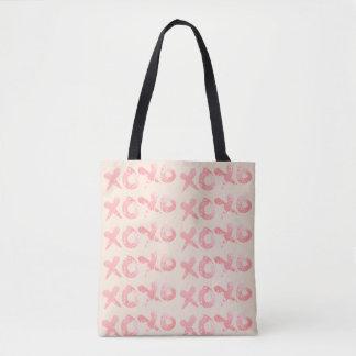 XOXO Pink Paint Splatter Tote Bag