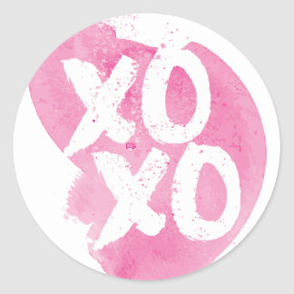 XOXO Pink Watercolor Splash Classic Round Sticker