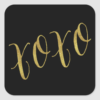 XOXO Quote Faux Gold Foil Glitter Background Square Sticker