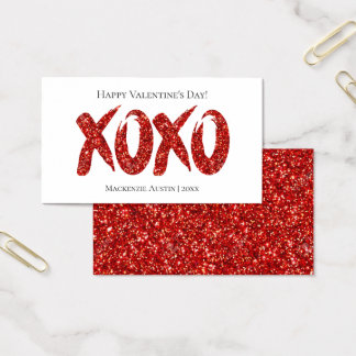 XOXO Red Glitter | Classroom Office Valentines Day Business Card