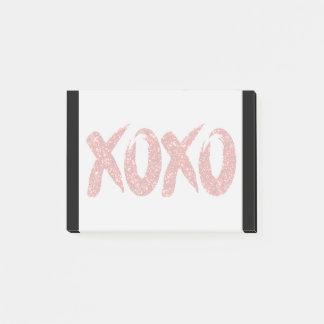 XOXO Red Glitter | Valentines Day Brush Strokes Post-it Notes