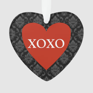 XOXO Red Heart on Damask Ornament
