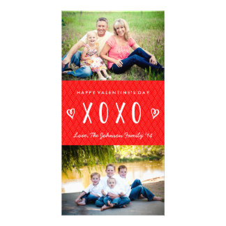 XOXO Red White Valentine's Day Family Photo Card