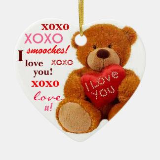 XOXO Romantic Teddy Bear Valentine Heart Ceramic Heart Decoration