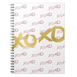XOXO Rose Gold Modern Faux Foil Shine Glam Custom Notebook