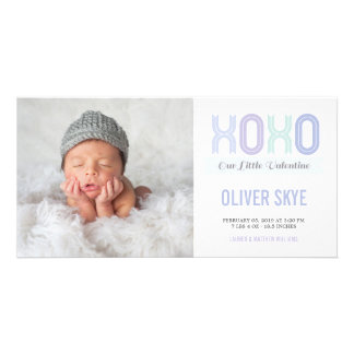 XOXO Sweet Valentine Baby Boy Announcement Photo Customised Photo Card
