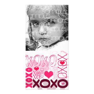 XOXO Valentine Kisses & Hugs Custom Photo Card