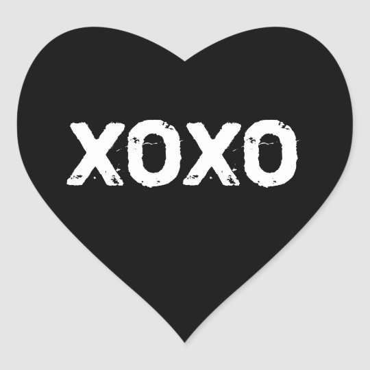 Xoxo valentines day black white hugs kisses custom heart sticker