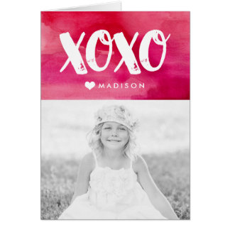 XOXO Watercolor Folded Valentine's Day Photo Card