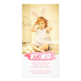 XOXO Watercolor Kisses Hugs Thank You Photo Card