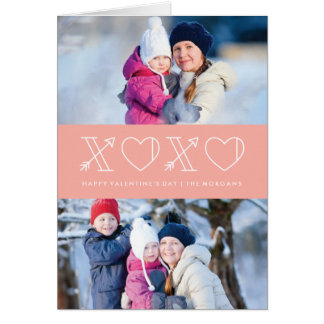 Xs & Os Valentine's Day Greeting Card - Peach