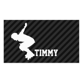 Xtreme Skating; Black & Dark Gray Stripes Double-Sided Standard Business Cards (Pack Of 100)