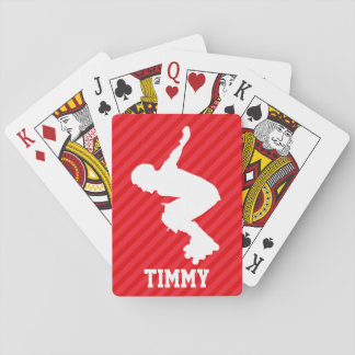 Xtreme Skating; Scarlet Red Stripes Playing Cards