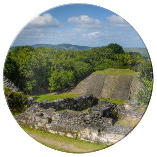 Xunantunich Mayan Ruin in Belize Porcelain Plates
