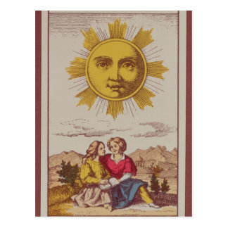 XVIIII Le Soleil, French tarot card of the Sun Postcard