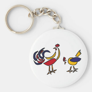 XX- Abstract Art Chicken and Rooster Keychains