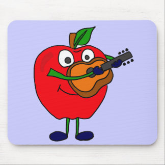 XX- Apple Playing Guitar Cartoon Mouse Pad