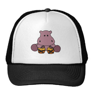 XX- Awesome Hippo Playing Bongo Drums Trucker Hats