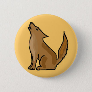XX- Awesome Howling Coyote 6 Cm Round Badge