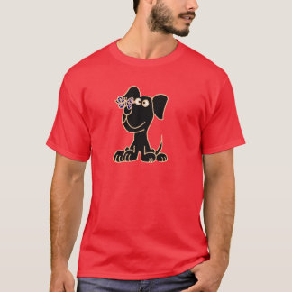 XX- Black Puppy Dog with Butterfly on Nose T-Shirt