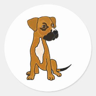 XX- Boxer Mix Rescue Dog Puppy Cartoon Round Sticker