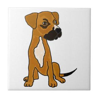 XX- Boxer Mix Rescue Dog Puppy Cartoon Small Square Tile