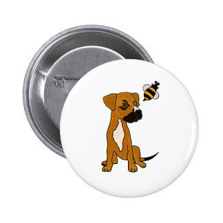XX- Cute Boxer Puppy Dog and Bee Cartoon Pinback Buttons