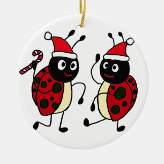 XX- Dancing Ladybugs Christmas Ceramic Ornament