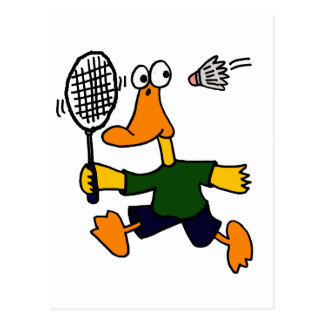 XX- Duck Playing Badminton Cartoon Postcard